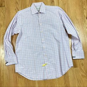 Thomas Pink Plaid Button Down Dress Shirt 20